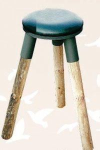 Tabouret bois-métal pour mirador, avec coussin tournant .