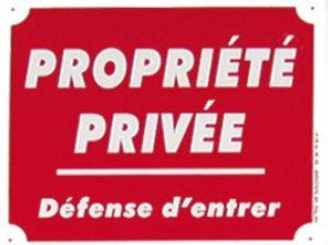Pancarte en alu  Propriété privée, Défense d'entrer