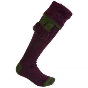 Chaussettes bi-colores Violet, bord Vert