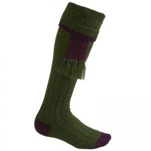 Chaussettes bi-colores Vertes, bord Violet