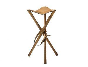 Trépied de battue assise cuir, Alexandre MAREUIL, hauteur 70 ou 80 cm