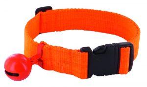 Collier clipsable nylon orange fluo avec grelot
